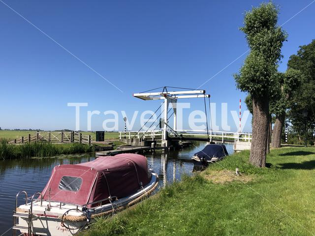 Bridge over a canal in IJlst Friesland The Netherlands