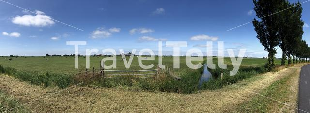 Panorama from the countryside of Friesland The Netherlands