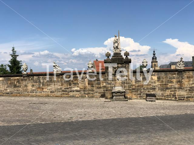Wall at the domplatz around the Bamberg Cathedral in Bamberg Germany