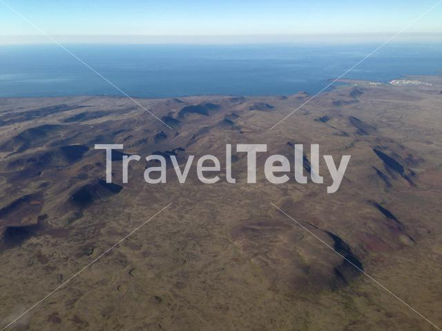 Flying over the mountain landscape from Iceland