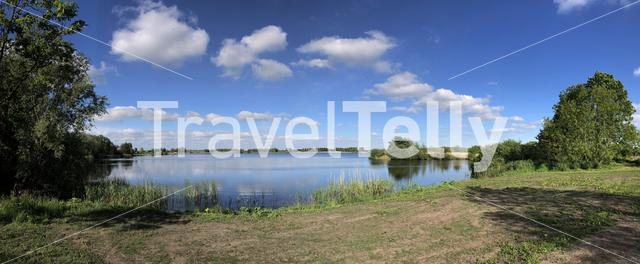 Panorama from Bokkewiel lake in Friesland The Netherlands