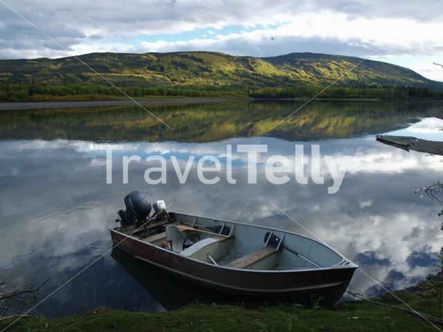 River with a boat in Mayo Yukon Canada