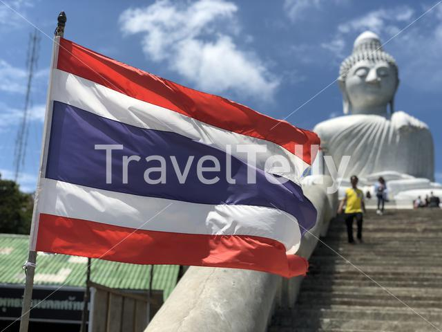 Thai flag at the Big buddha in Phuket Thailand