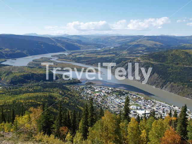 Lookout over Dawson village in Canada