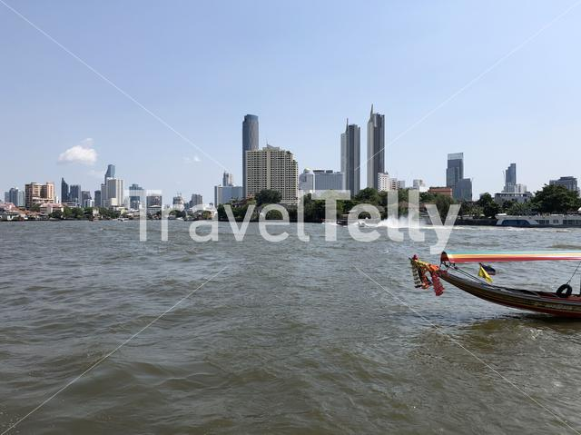 Water taxi on the Chao Phraya river in Bangkok, Thailand