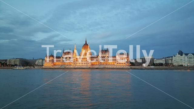 The Hungarian Parliament Building (Parliament of Budapest) in the evening