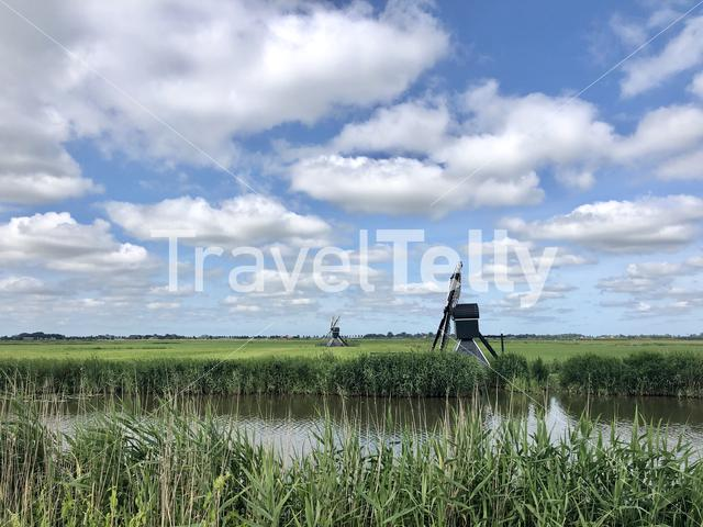 Windmills in Friesland The Netherlands
