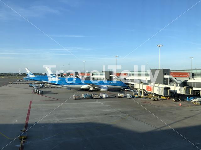 KLM airplanes at Schiphol aiport in The Netherlands