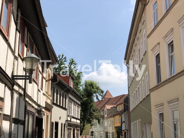 Street with timber frame houses in Erfurt Germany