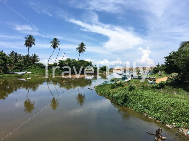 River with fishing boats in Sri Lanka