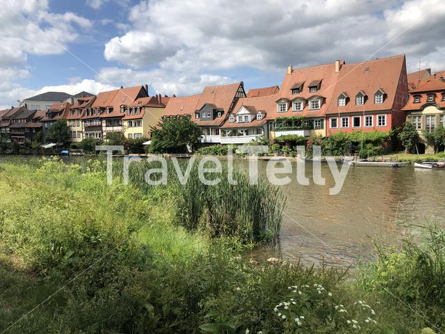 Houses next to the Linker Regnitzarm river in Bamberg Germany