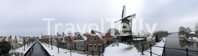 Panorama from the city Sloten during winter in Friesland