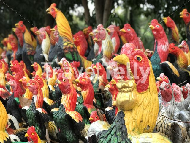Rooster Statues at Wat Yai Chai Mongkhon a Buddhist temple in Ayutthaya, Thailand