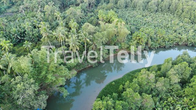 Tropical river view from above in the Philippines