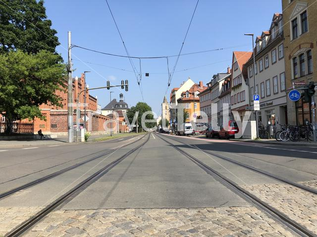 Tram track in Erfurt Germany