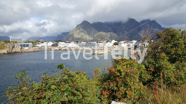 Fjord landscape with the village Henningsvaer in Norway