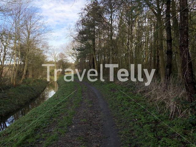 Cycling path on Texel island in The Netherlands