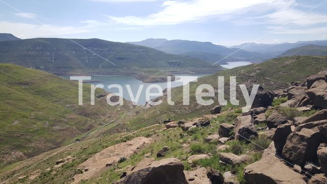 Mountain range with lake landscape in Lesotho Africa