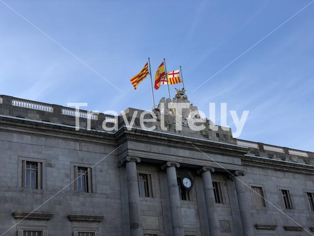 Spanish and catalonia flags in Barcelona Spain