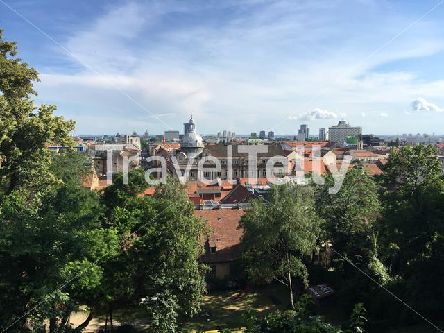 Old town city overview of Zagreb Croatia