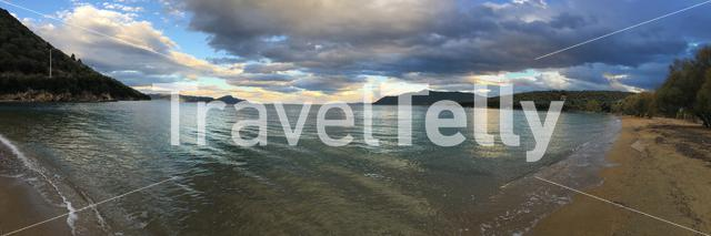 Panorama from the beach during sunset in Ag. Marina Greece