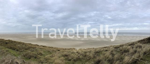 Panorama from beach and the north sea at Texel island in The Netherlands