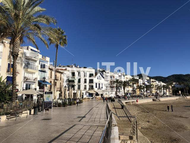 Boulevard around san sebastian beach in Sitges, Spain