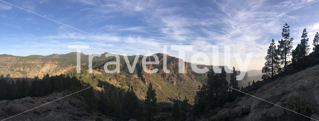 Panorama landscape around Roque Nublo the volcanic rock on the island of Gran Canaria