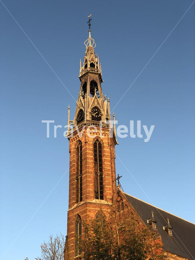 Sint jozefkathedraal during autumn in Groningen The Netherlands