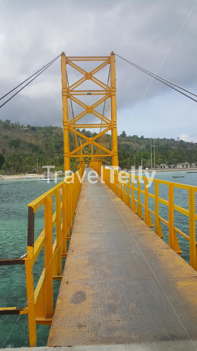 Yellow bridge between Nusa Ceningan and Nusa Lembongan, Bali