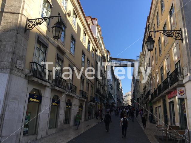 R. do Carmo street with the Santa Justa Lift in Lisbon Portugal