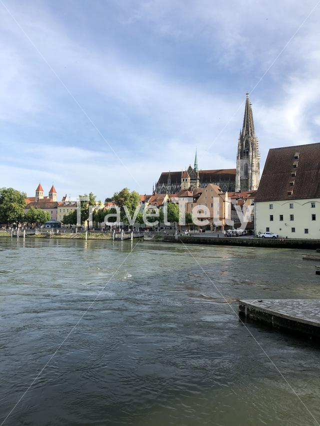 The Danube river in Regensburg, Germany