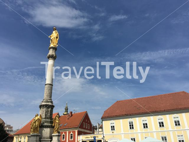 Statue in front of the Cathedral of Zagreb in Croatia
