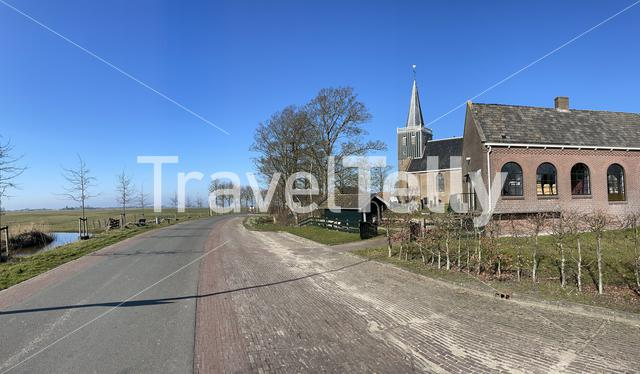 Panorama from Abbega during winter in Friesland, The Netherlands