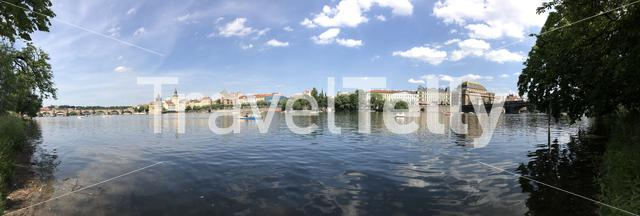Panorama from the Vltava river in Prague Czech Republic