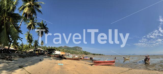 Panorama from Long-tail boats during low tide in Koh Mook Thailand