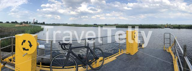 Self-service ferry around Rotstergaast in Friesland, The Netherlands