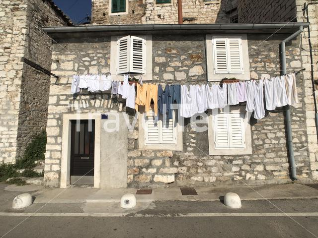 Laundry in the old town of Sibenik, Croatia