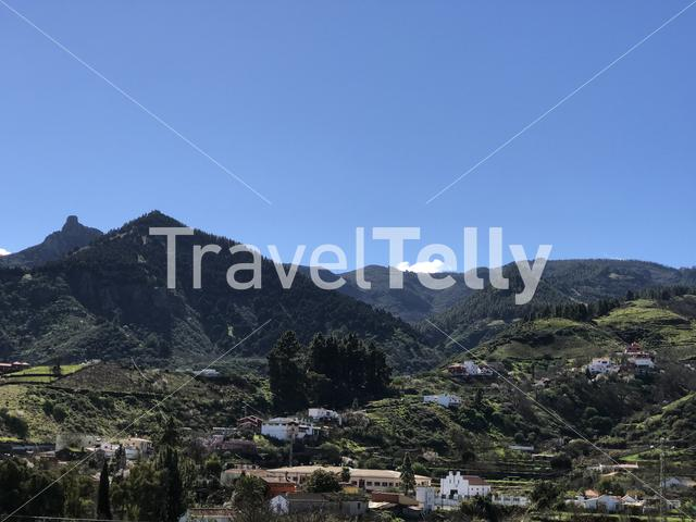 Mountain landscape with houses in Gran Canaria