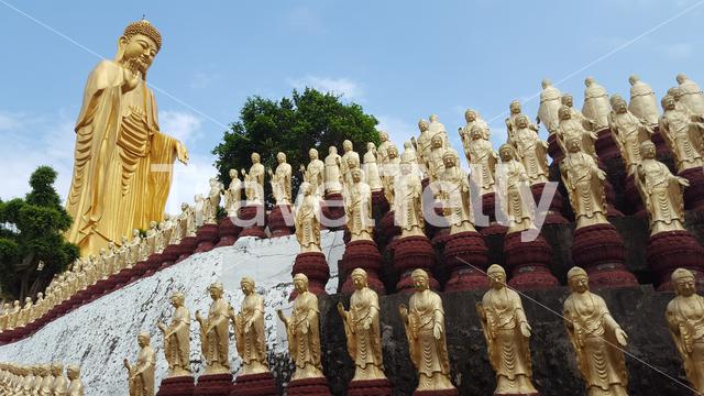 Buddha statues at the Fo Guang Shan monastery in Kaohsiung Taiwan