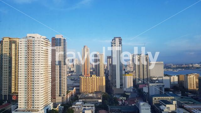 Skyline of Manila seen from rooftop, Philippines