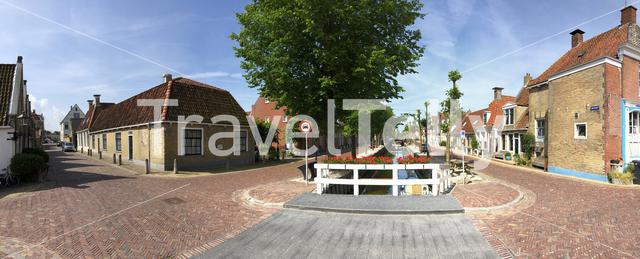 Panorama from the old town in Harlingen, Friesland The Netherlands