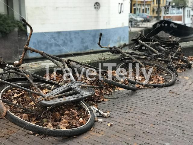 Bicycles next to the canal in Groningen