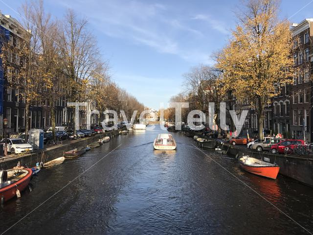 Canal cruise through Amsterdam during Autumn