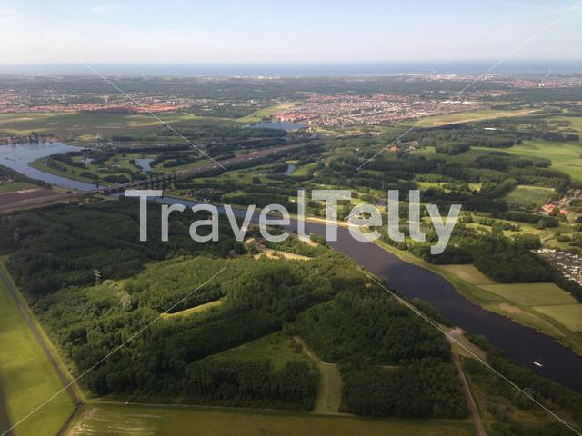 Flying above Spaarnwoude Golf course in The Netherlands towards Schiphol airport