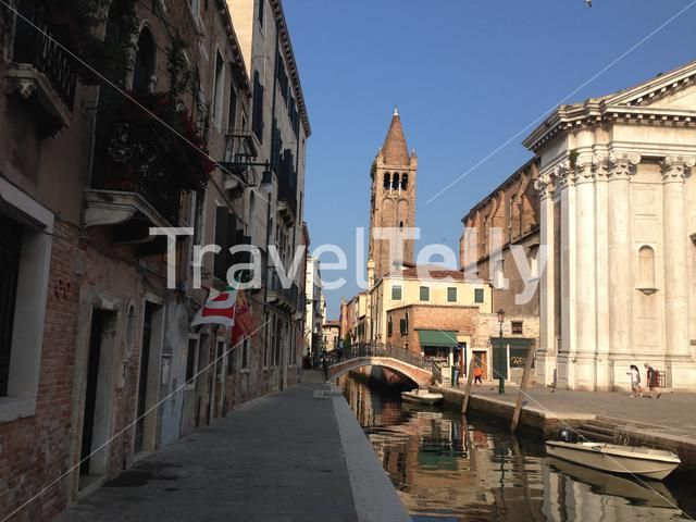 Church of St. Barnabas and the Rio de S Barnaba in Venice Italy