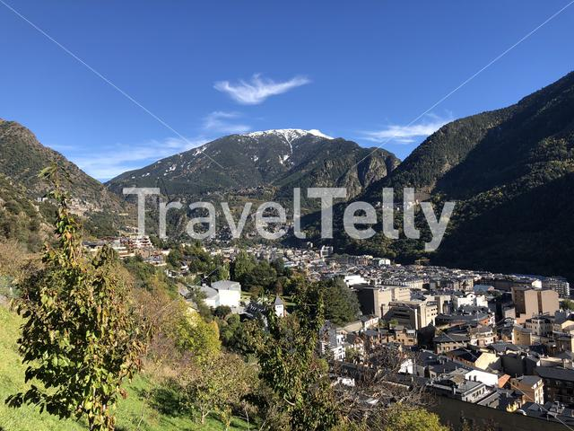 Aerial view from the city Andorra la Vella