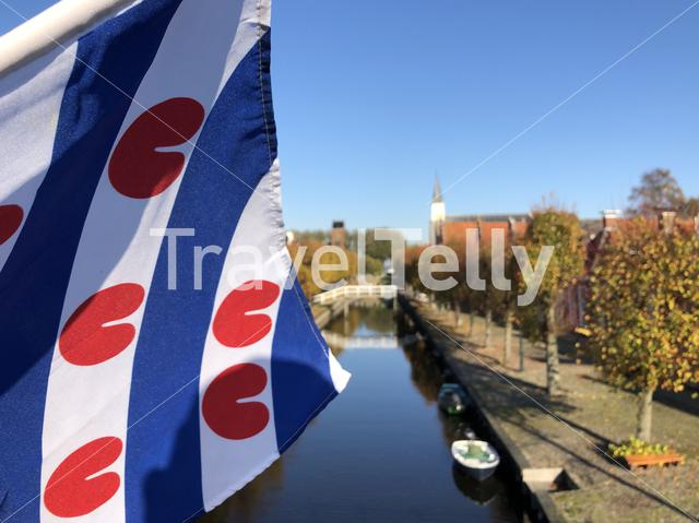 Frisian flag during autumn in Sloten, Friesland, The Netherlands