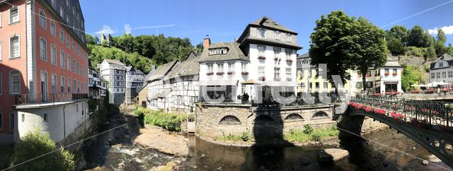 Panorama from the Monumental house das Rotes Haus and bridge in Monschau Germany