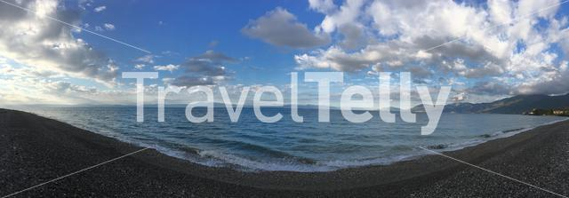 Panorama from the beach in Rovies Greece